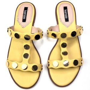 Kensie | Manette Yellow and Gold Slide Sandal